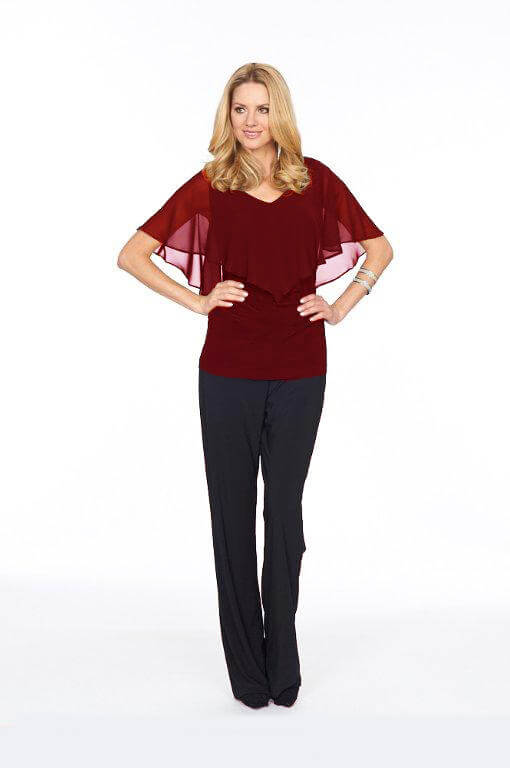 Roman Originals Glitz Chiffon Overlay Top in Red