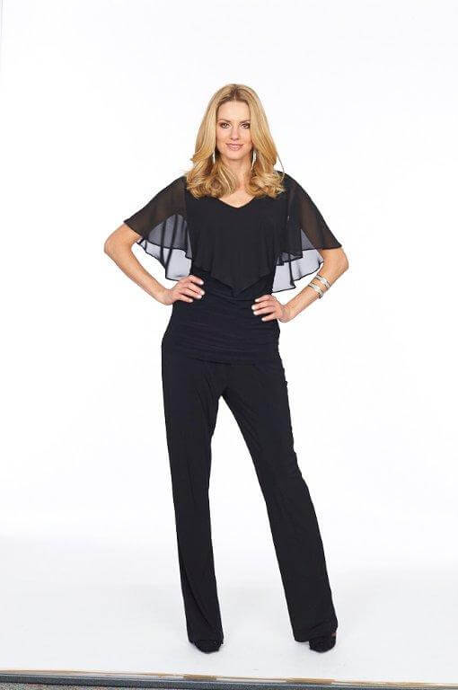 Roman Originals Glitz Chiffon Overlay Top in Black