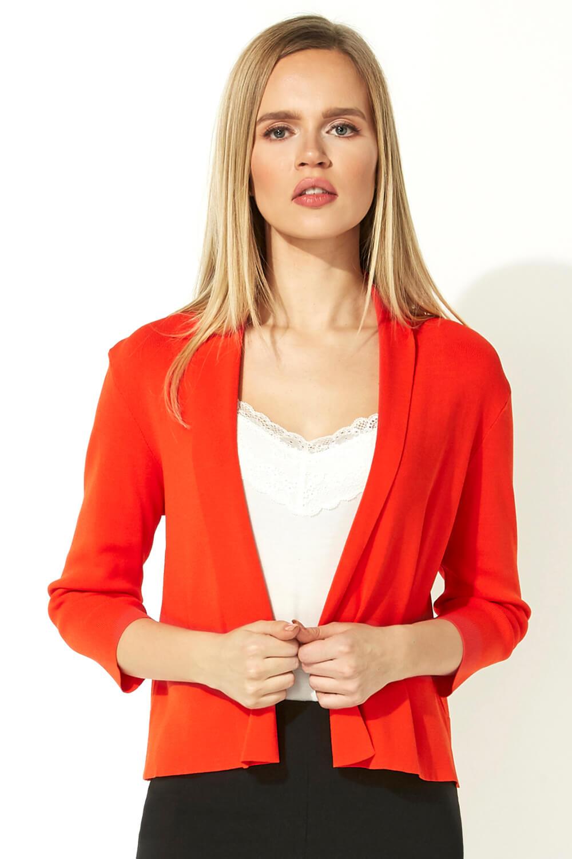 Roman Originals 3/4 Length Sleeve Shrug in Dark Orange
