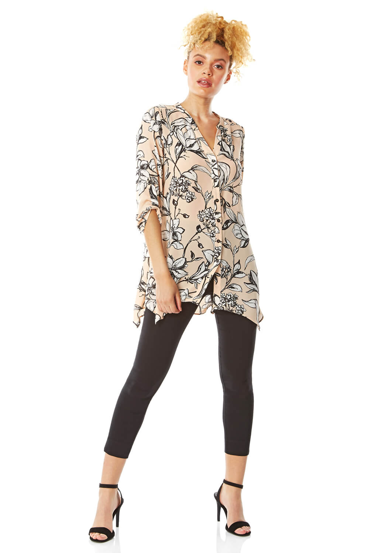 floral print button through blouse