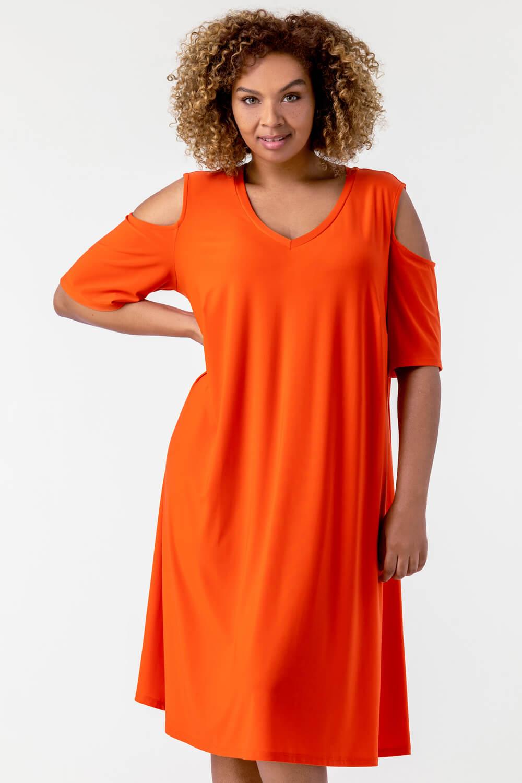 Roman Originals Curve Cold Shoulder Jersey Dress in Orange