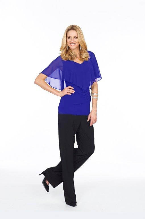 Roman Originals Glitz Chiffon Overlay Top in Blue