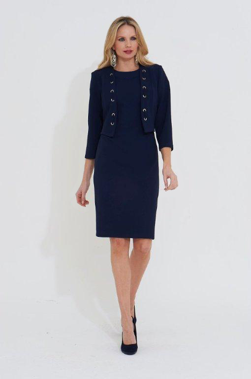 Roman Originals Eyelet Detail Tailored Jacket in Navy
