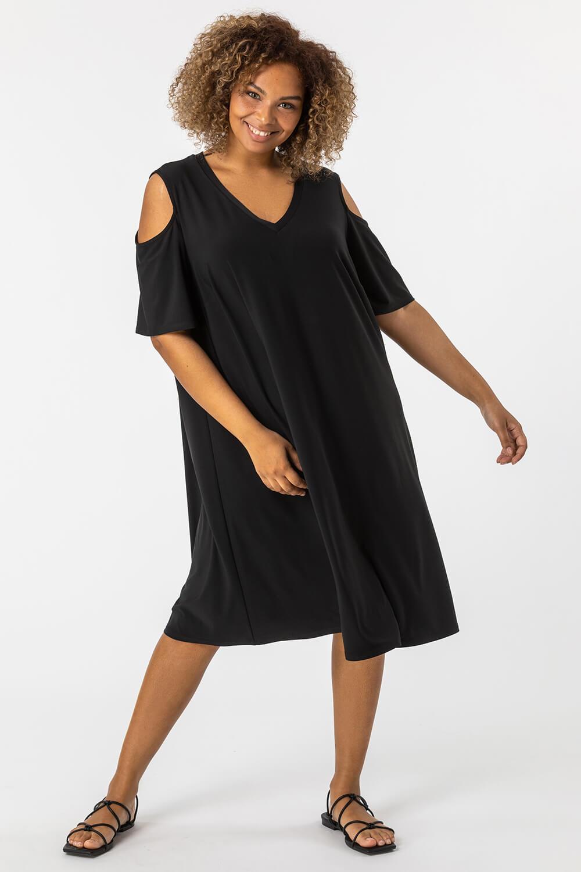 Roman Originals Curve Cold Shoulder Jersey Dress in Black