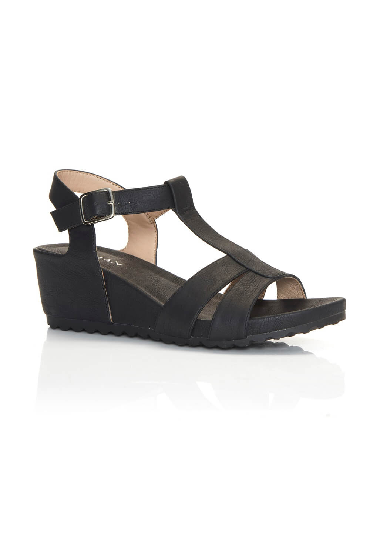 Comfort Wedge T-Bar Sandal in Black