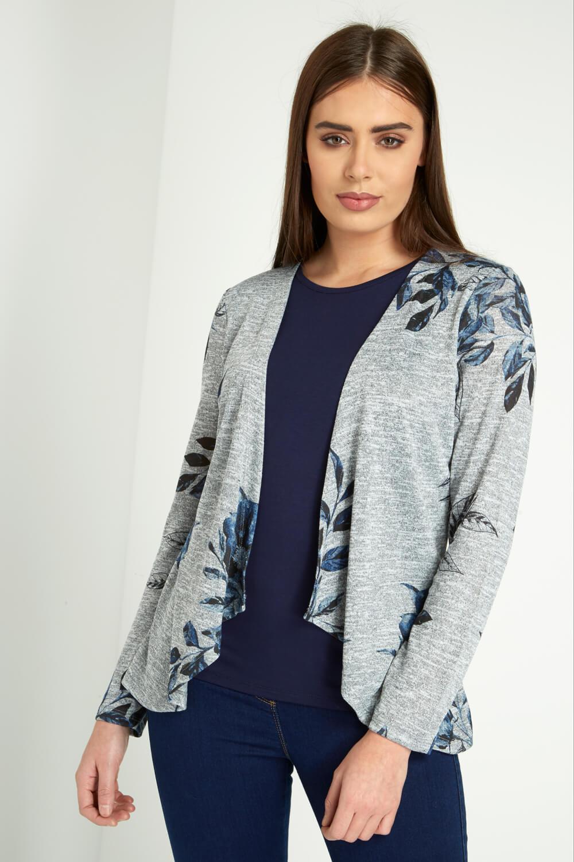 Roman Originals 2 in 1 Floral Cardigan and Vest Top Set in Grey