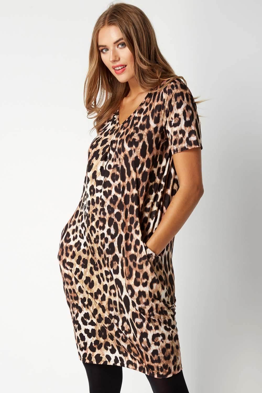 Animal Leopard Print Dress in Brown