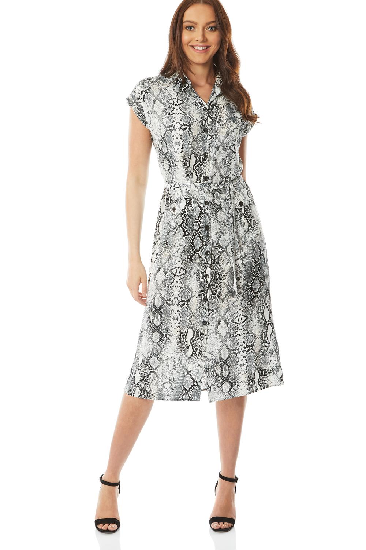 snake print shirt midi dress