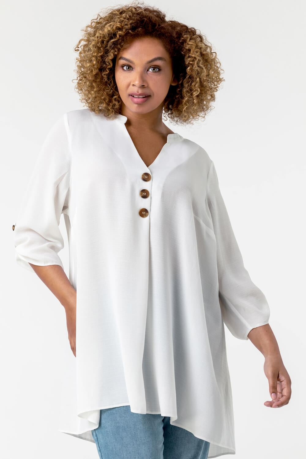 Roman Originals Curve Button Detail Tunic Top in Ivory