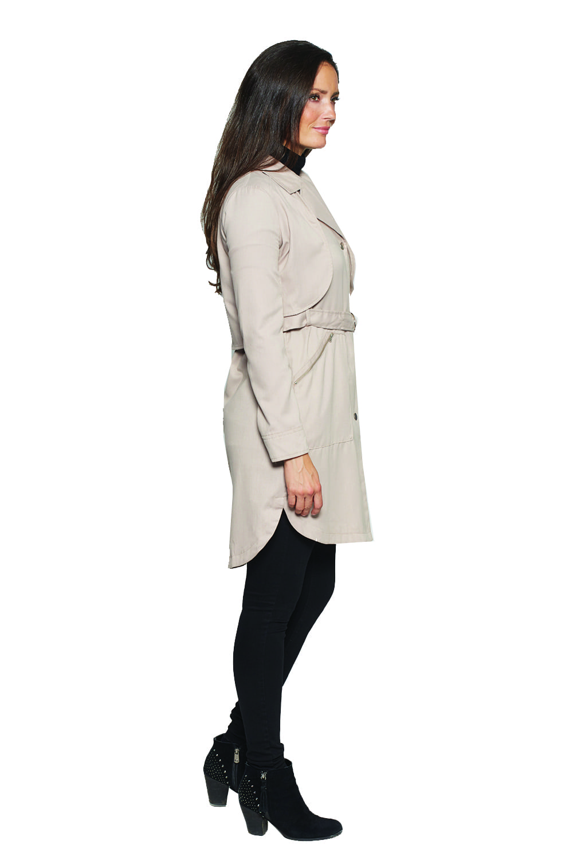 David Barry Lightweight Belted Ladies Trench Coat in Stone Roman Originals UK