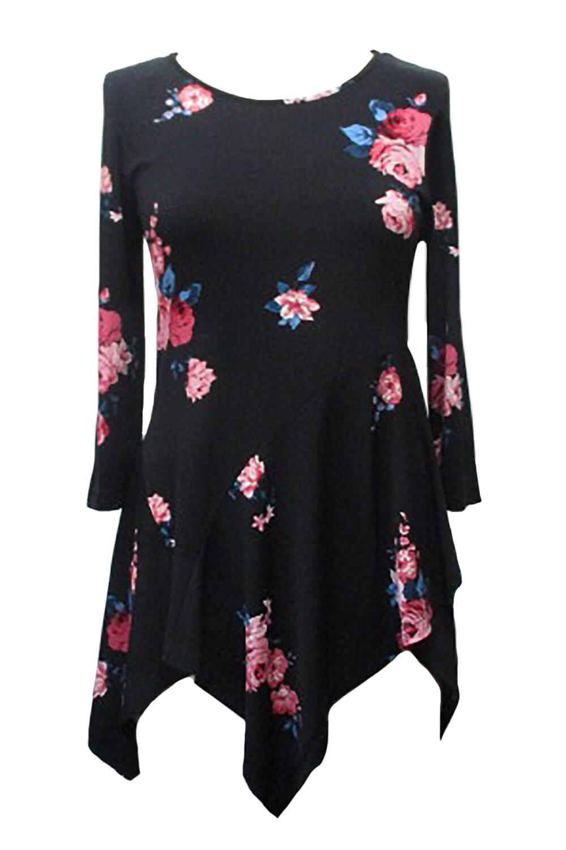 hanky hem floral rose print tunic top