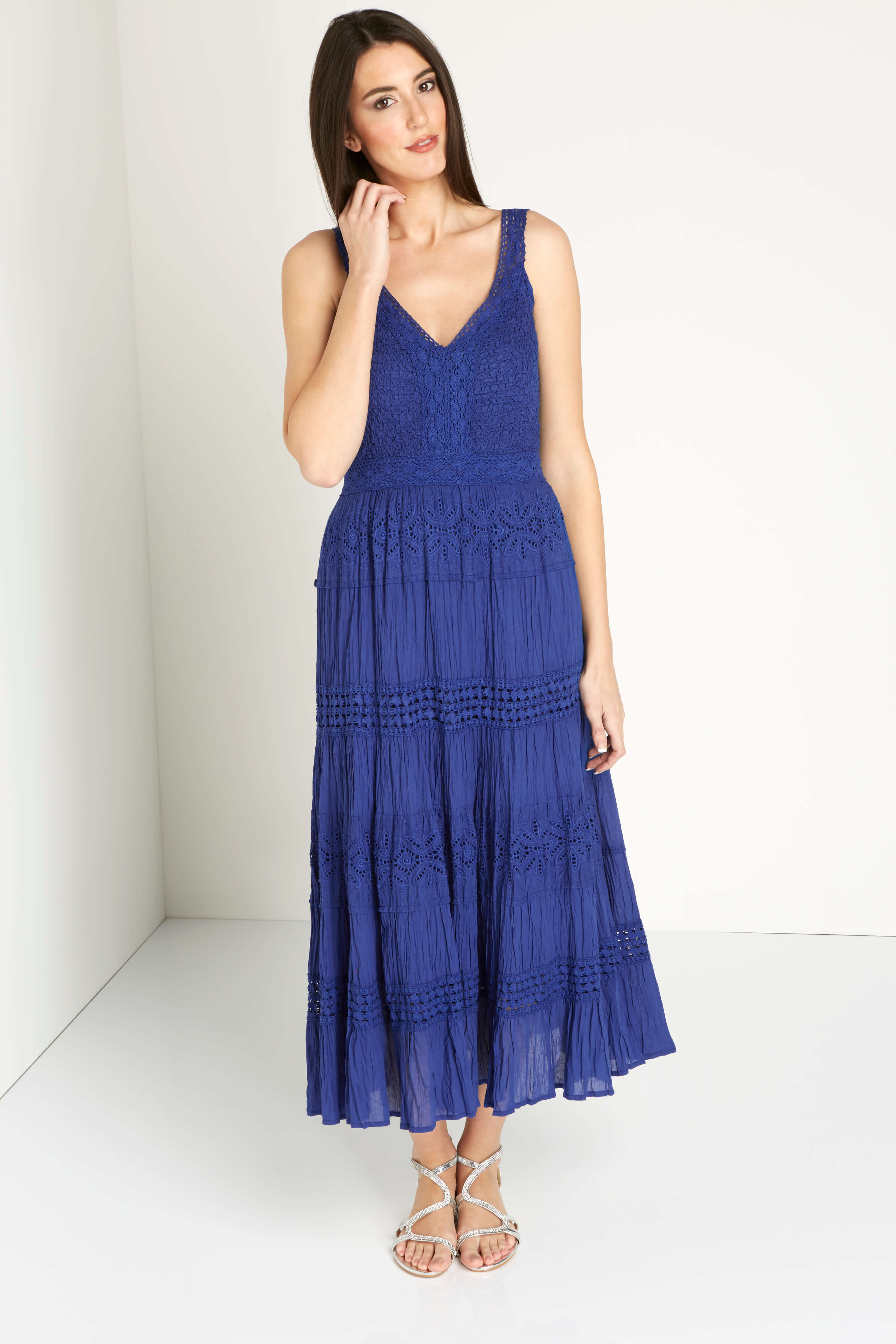 Roman Originals 100% Cotton Summer Maxi Dress in Royal Blue
