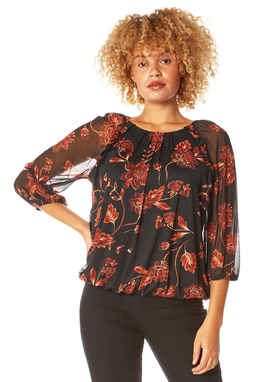 mesh overlay floral print blouson top