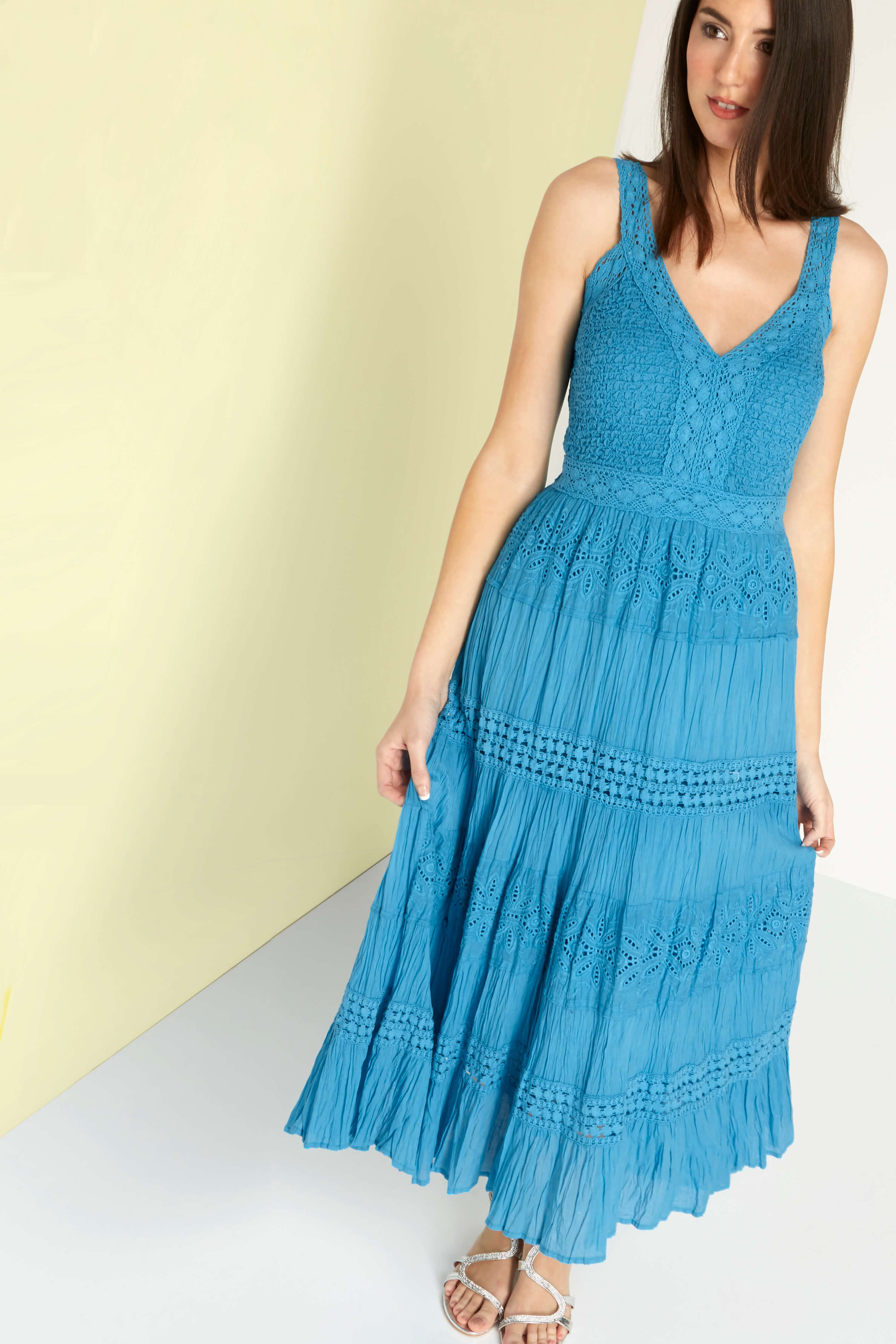 Roman Originals 100% Cotton Summer Maxi Dress in Blue