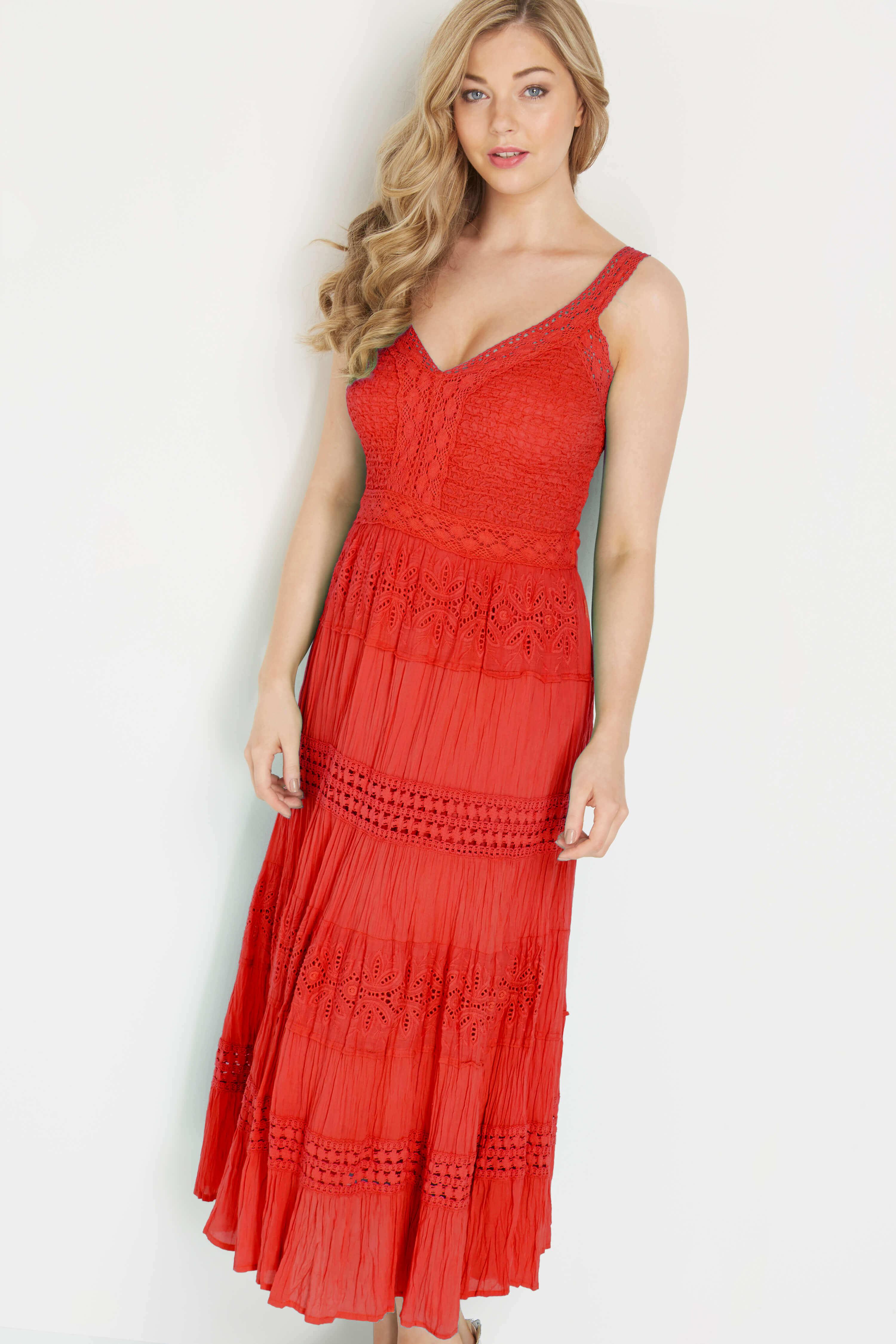 Roman Originals 100% Cotton Summer Maxi Dress in Coral