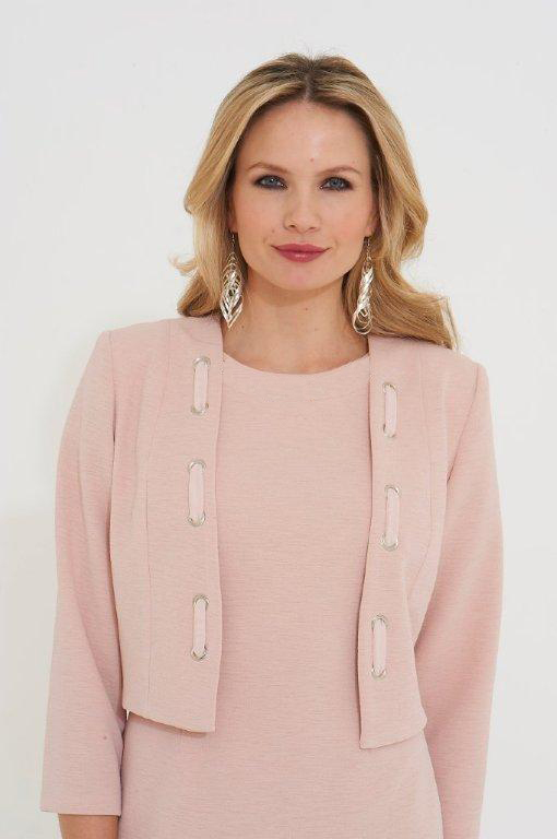 Roman Originals Eyelet Detail Tailored Jacket in Pink