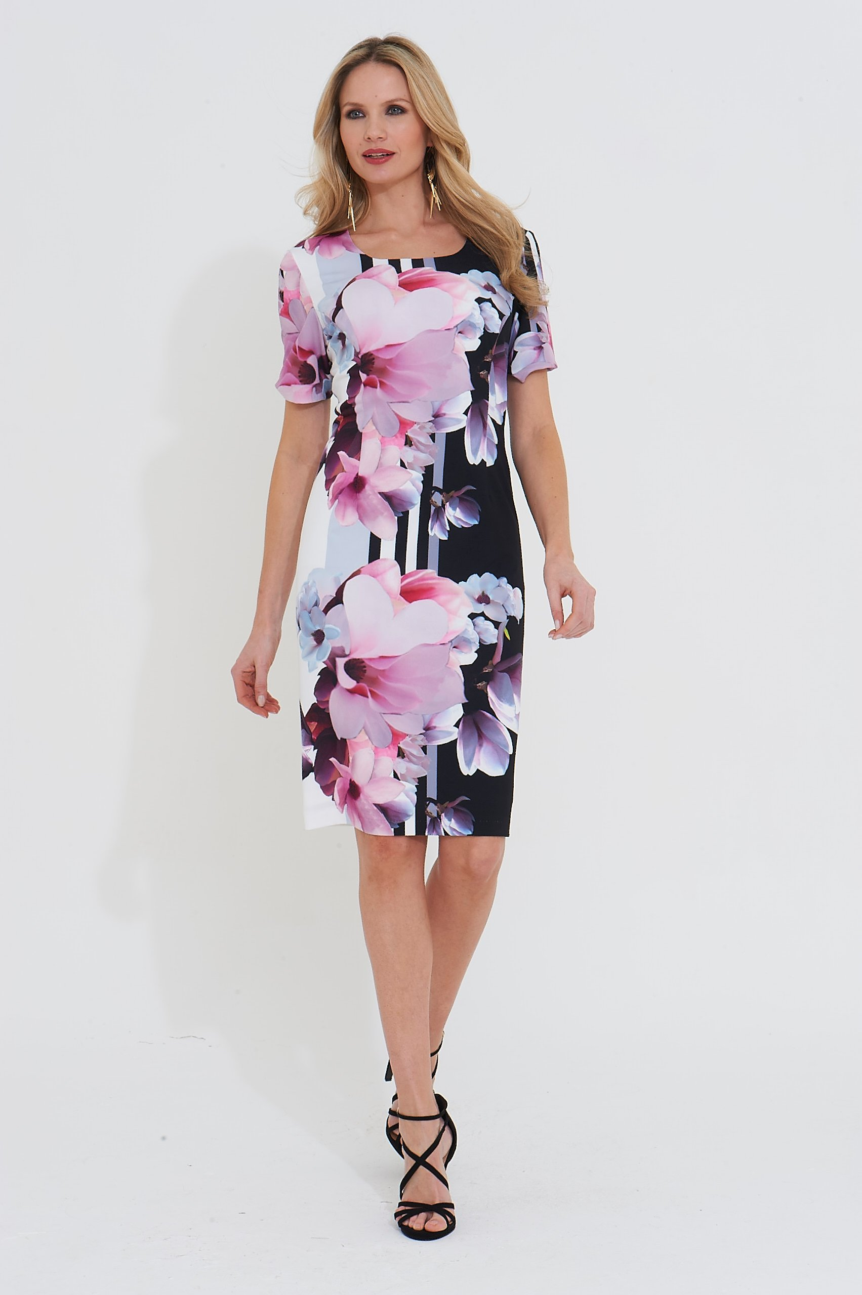 Roman Originals Floral Stripe Print Dress in Black