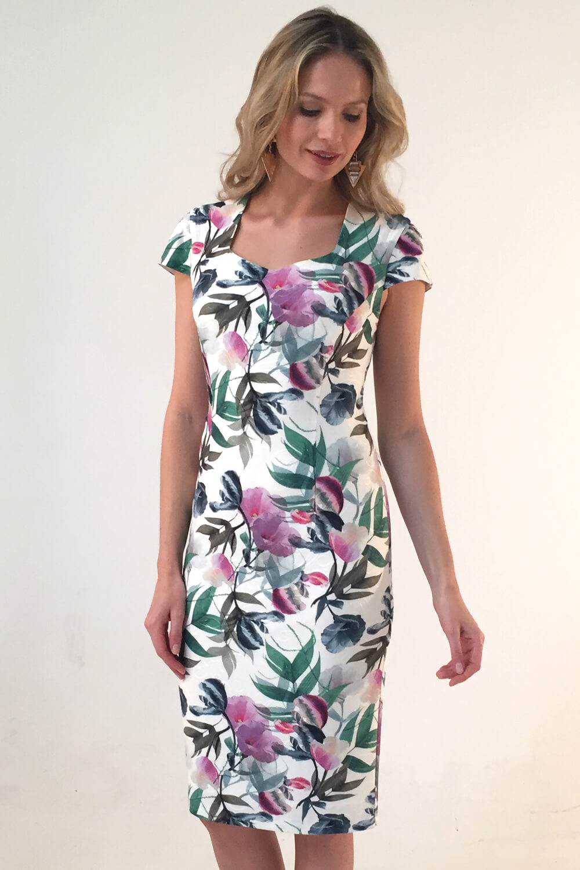 Roman Originals Floral Print Sweetheart Dress in Ivory