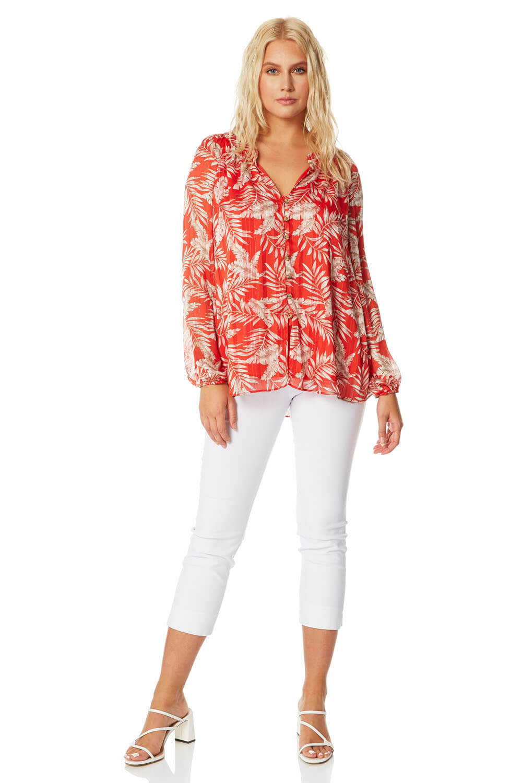 floral print lurex detail blouse