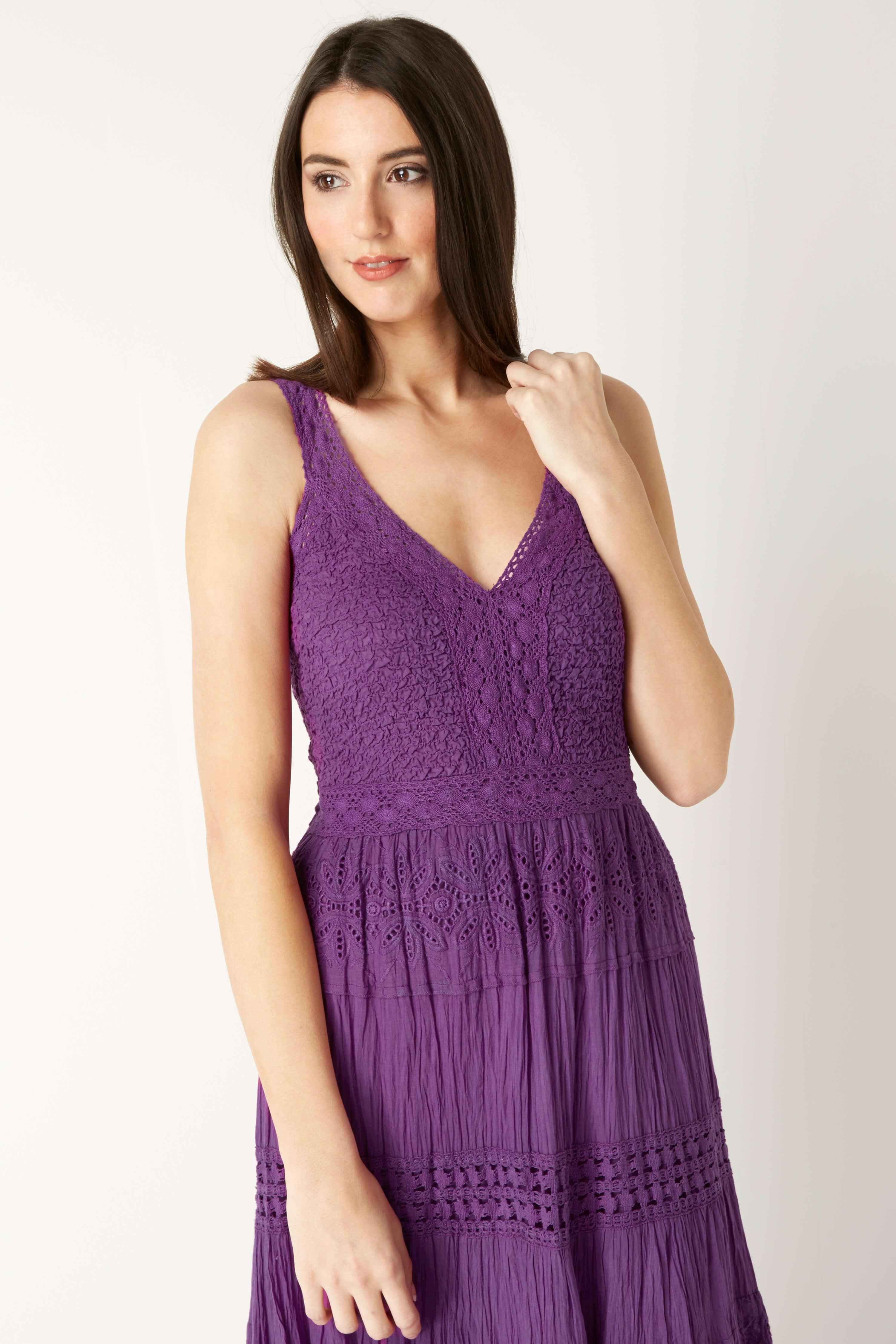 Roman Originals 100% Cotton Summer Maxi Dress in Purple