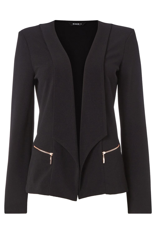 Roman Originals Femme Texturé Fermeture Éclair Blazer Jacket