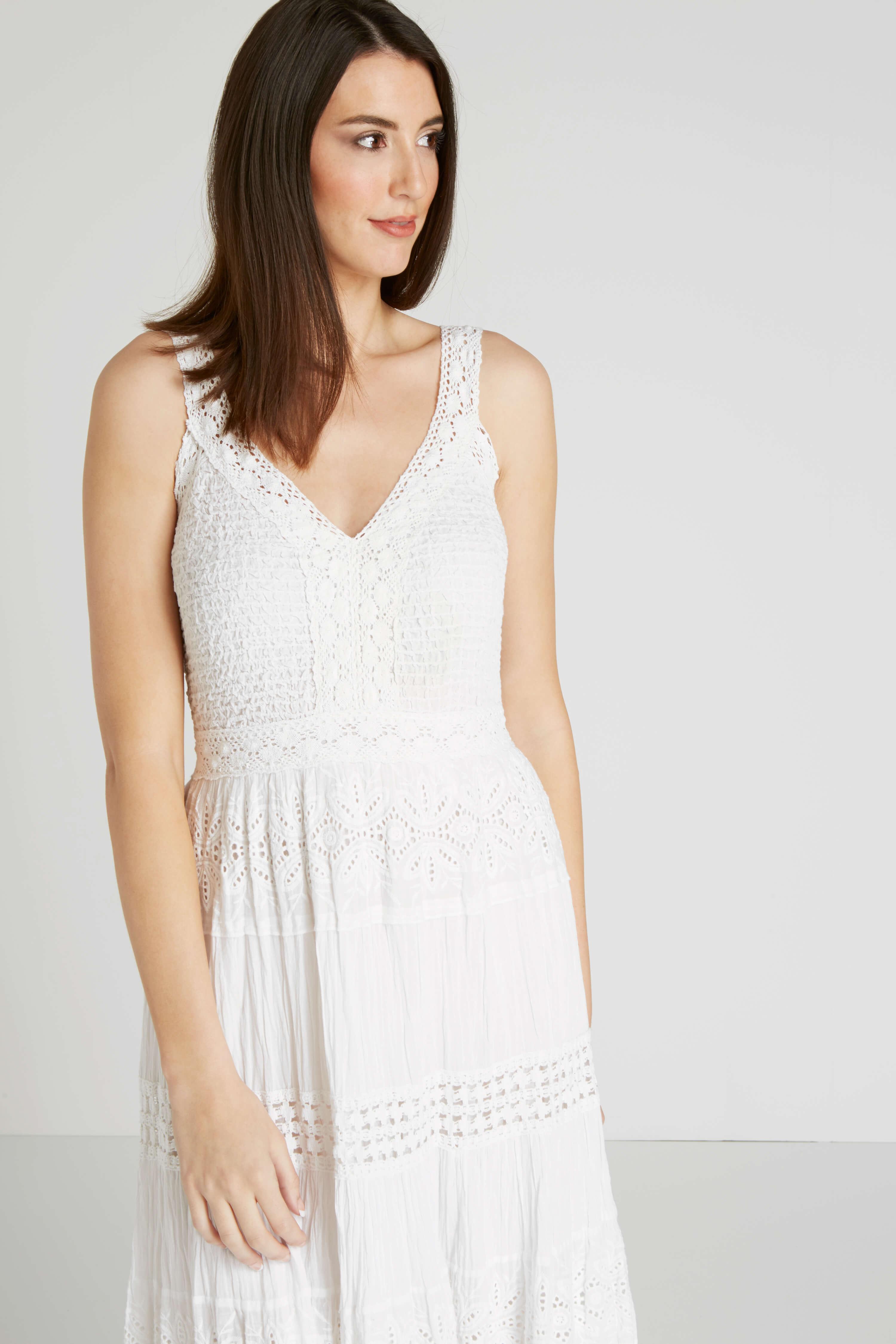 Roman Originals 100% Cotton Summer Maxi Dress in White