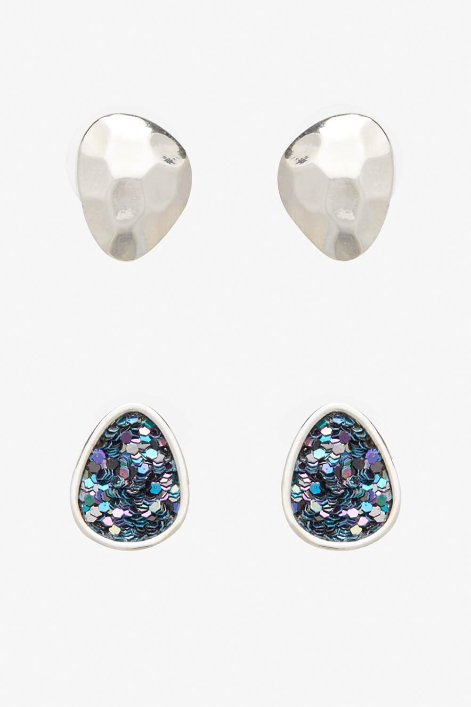 Roman Originals 2 Pack Texture Glitter Earrings in Silver