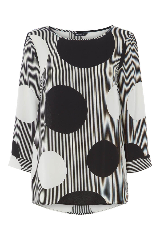 Roman Originals Black monochrome stripe 3//4 sleeve top NEW