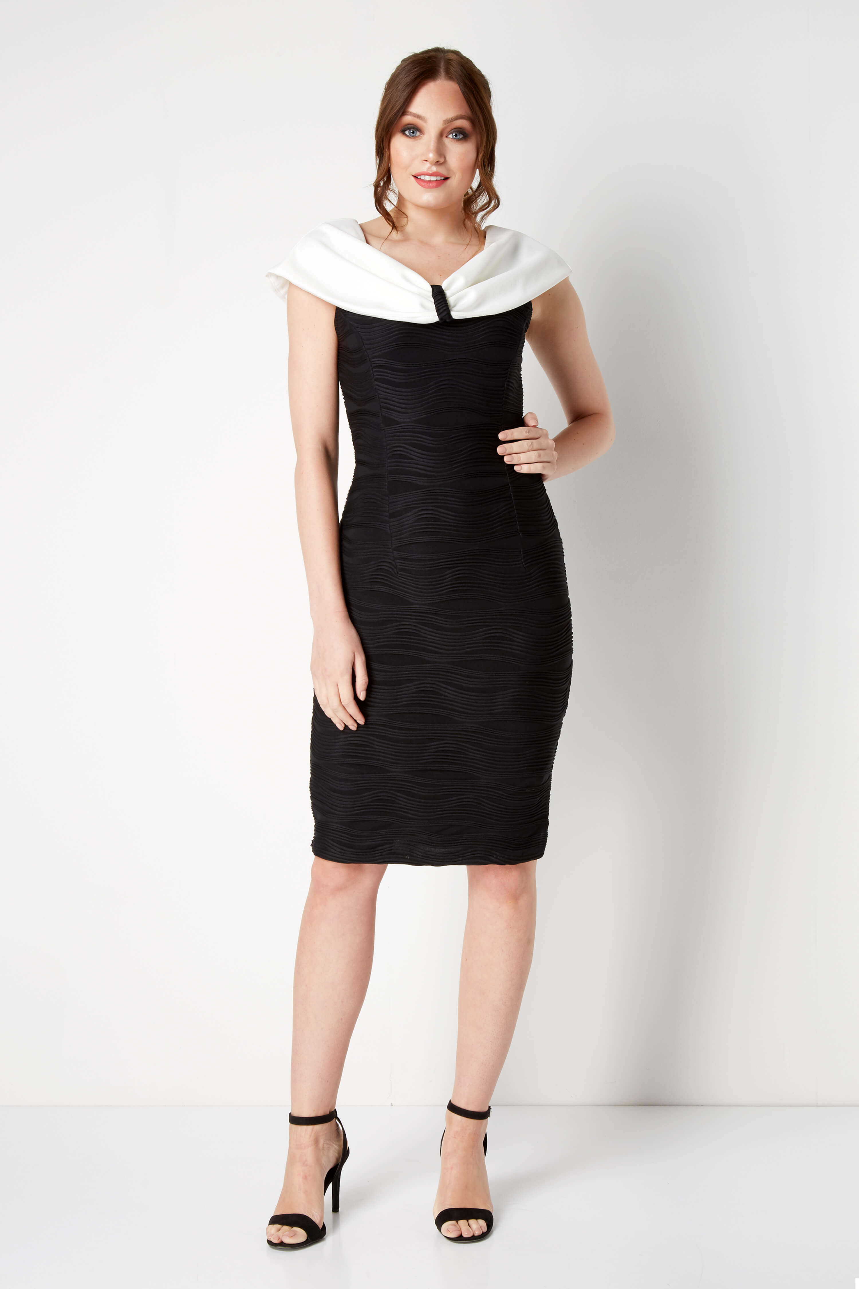 Roman Originals Contrast Bow Collar Dress in Black
