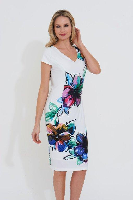 Roman Originals Floral Print Dress in Ivory