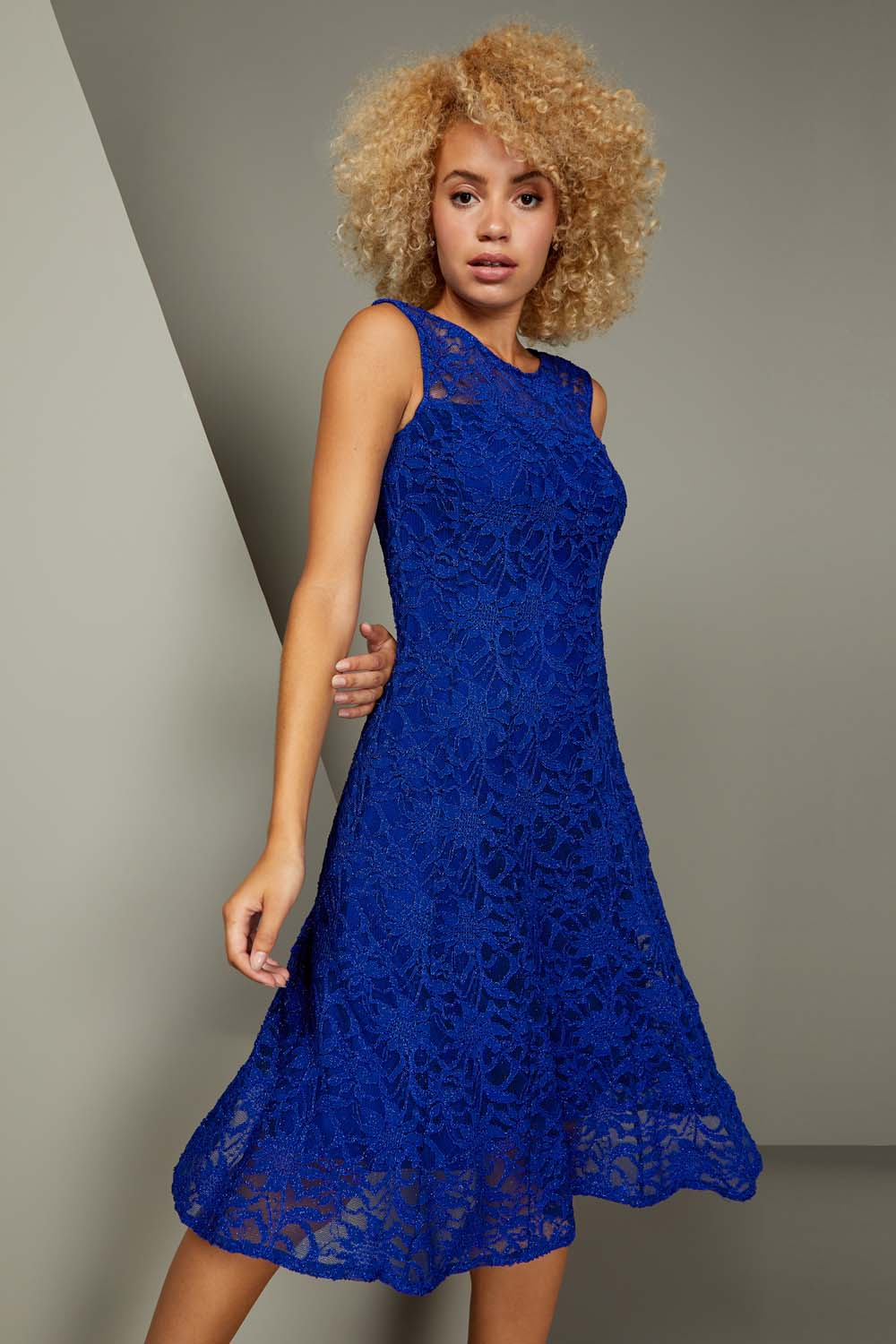 Glitter Lace Fit And Flare Dress In Royal Blue Roman Originals Uk