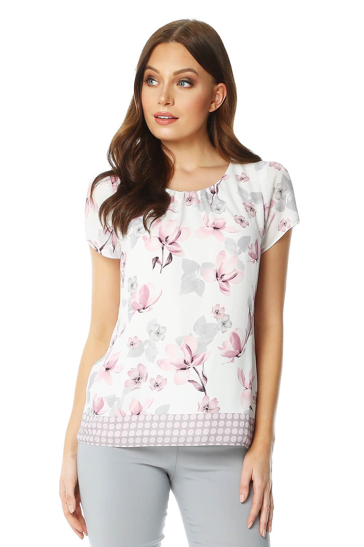 floral spot border print short sleeve top