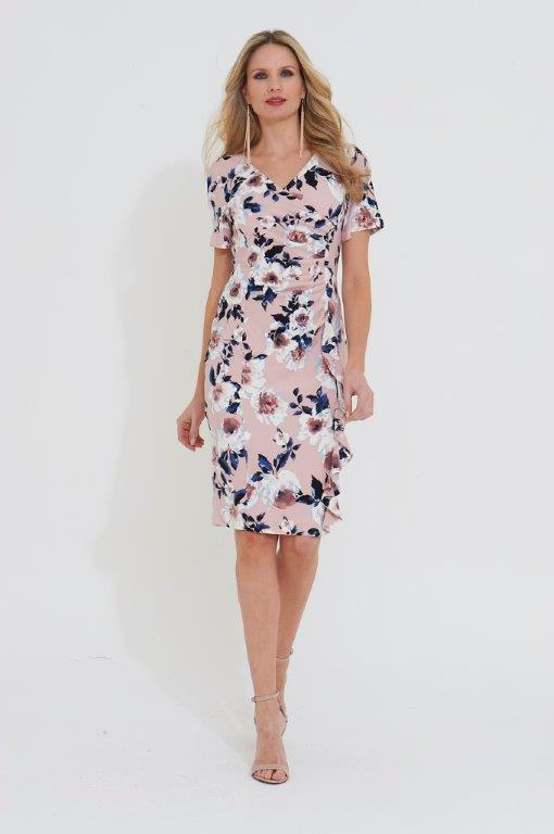 Roman Originals Floral Print Crossover Frill Dress in PINK
