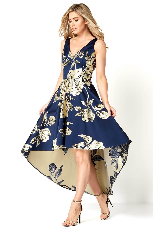Gold Jacquard Rose Gown Dress In Navy Roman Originals Uk
