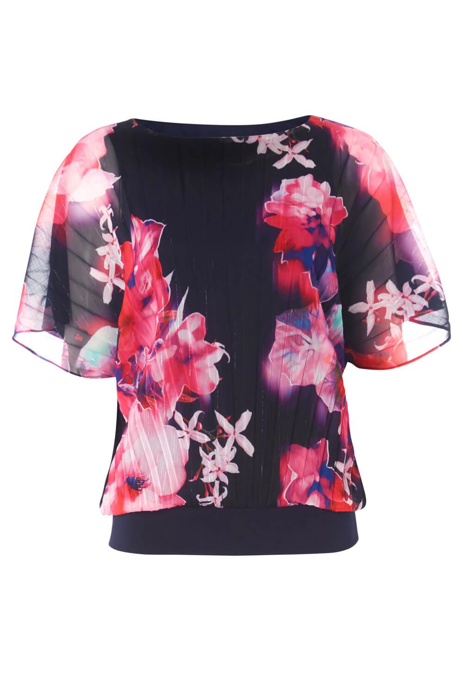 Women Roman Originals Floral Print Pleated Blouson Top