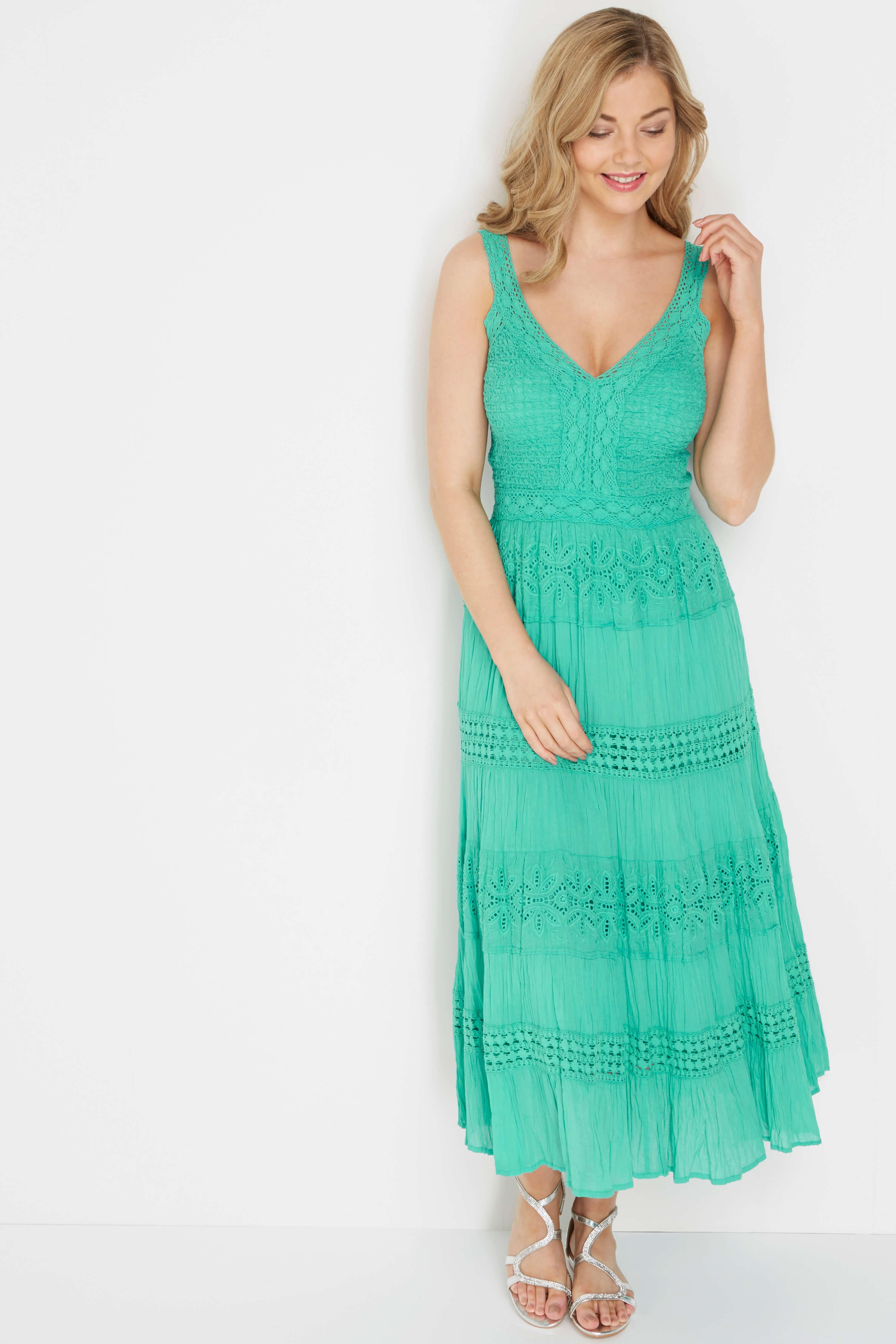 Roman Originals 100% Cotton Summer Maxi Dress in Turquoise
