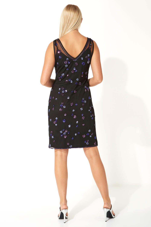 Roman Originals Femmes Twist Front Sequin Embellie Midi robe