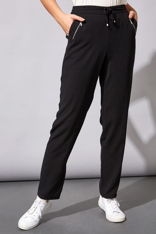 "Roman Originals 29"" Tie Front Jogger in Black"