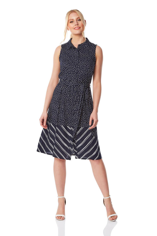 contrast print shirt dress