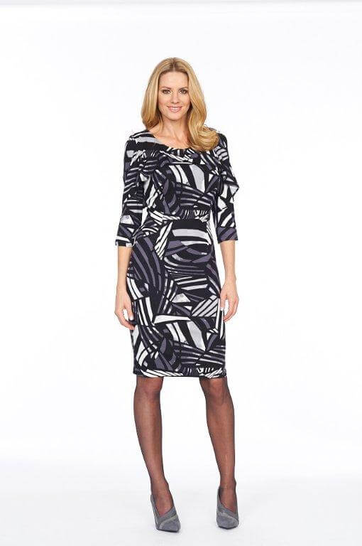 Roman Originals Glitz Abstract Geometric Print Dress in Grey