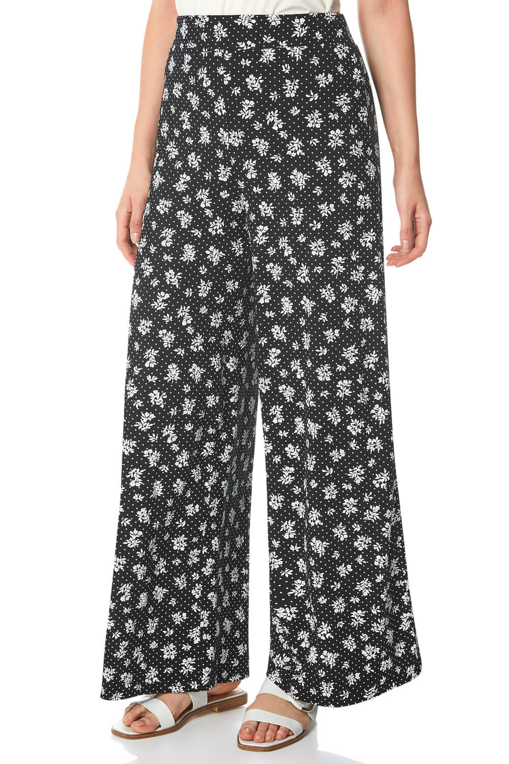 ditsy floral print wide leg palazzo trousers