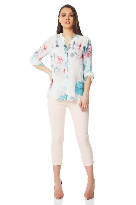 floral print split back blouse