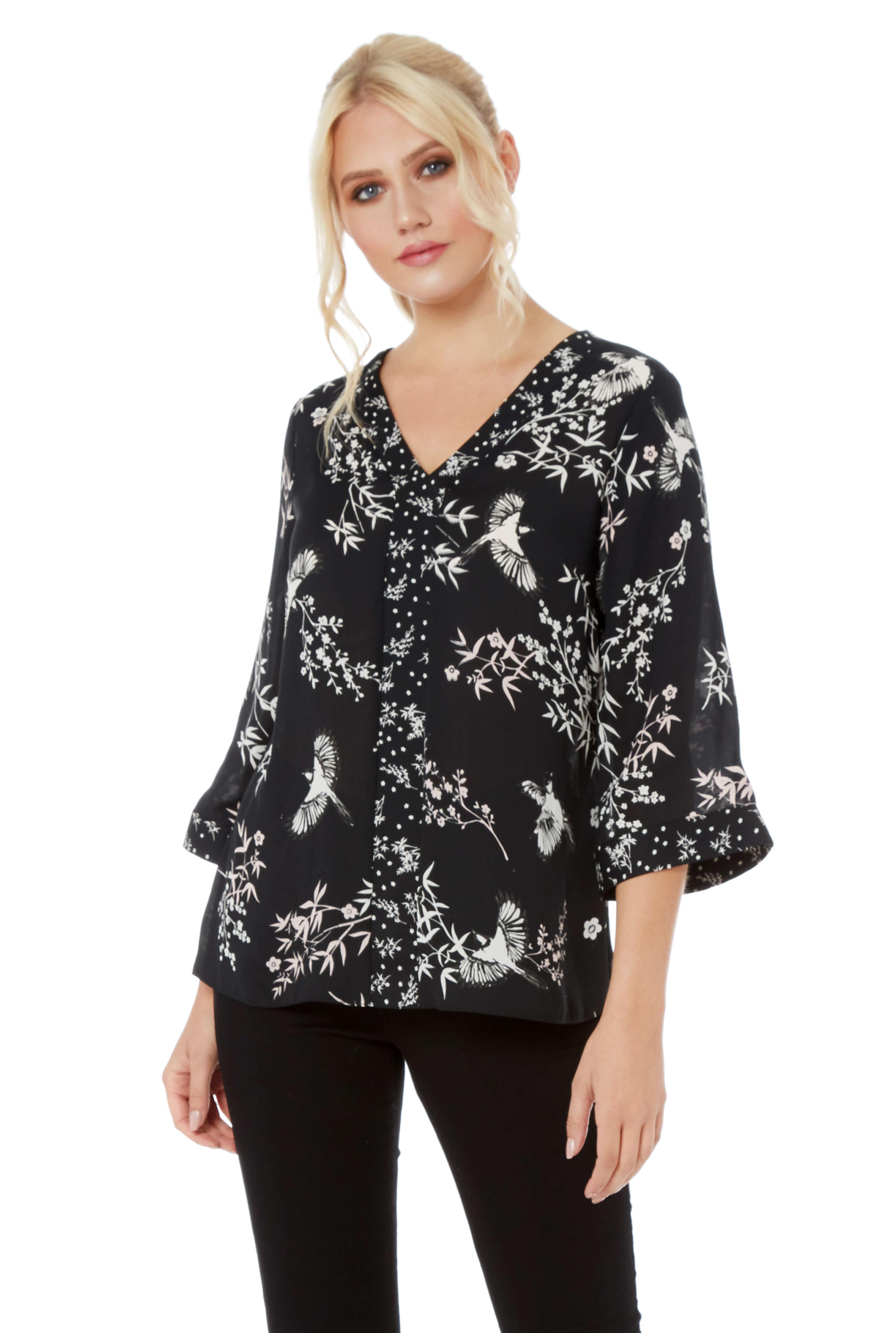 floral bird print kimono sleeve contrast top